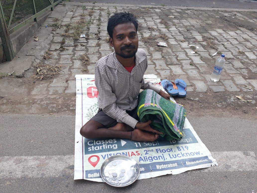 Helping poor people in winter in India